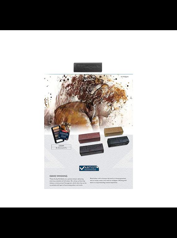 Derwent XL Charcoal - Set 6 Barras de Carboncillo Colores
