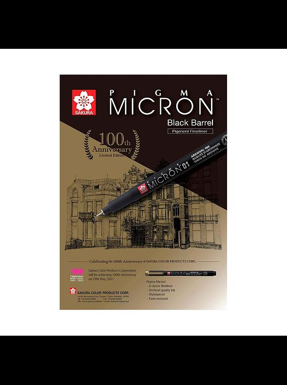 Sakura Pigma Micron - Set 5 Tiralíneas Negros Edición Aniversario 100 años