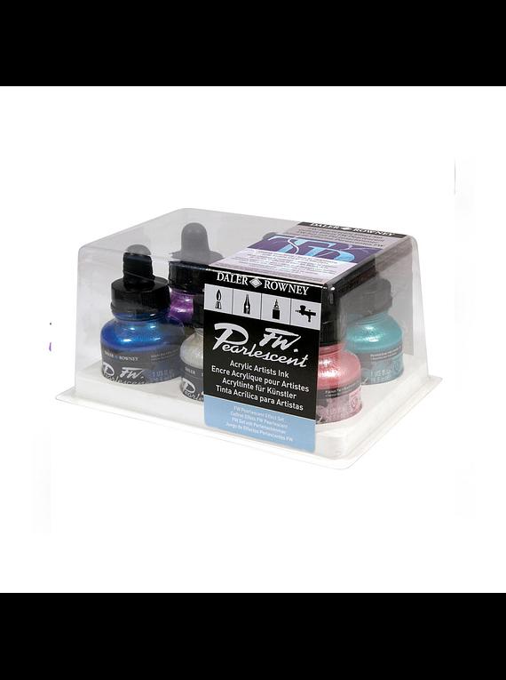 Daler Rowney FW - Set 6 Tintas Acrílicas Pearlescent Effect 30 ml