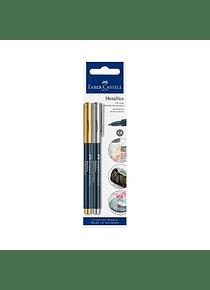 Faber-Castell Metallics - Set 2 Marcadores Oro y Plata