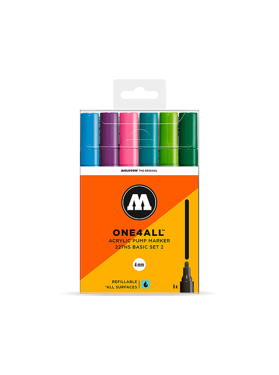 Molotow One4All - Set 6 Marcadores 227HS 4 mm Basic 2