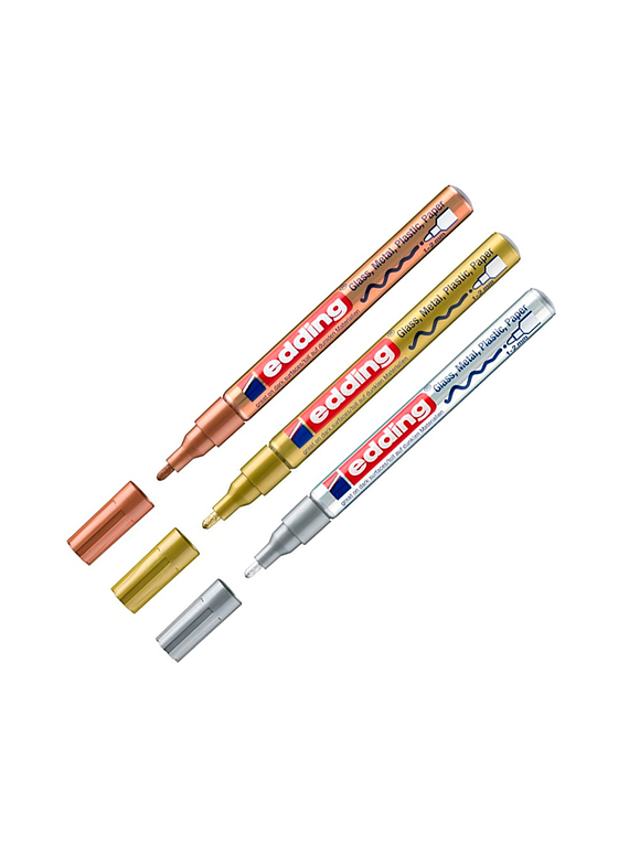 Edding 751 - Set 5 Marcadores de Pintura (1-2 mm) Metalizados