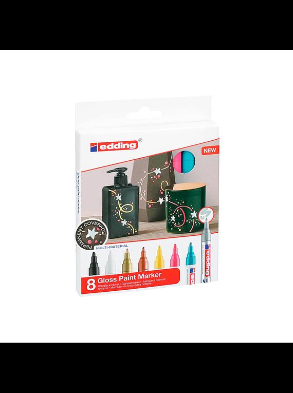 Edding 750 - Set 8 Marcadores de Pintura (2-4 mm) Metalizados