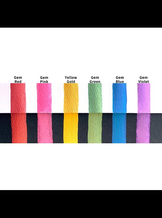 Kuretake Gansai Tambi - Set 6 Acuarelas Gem Colors