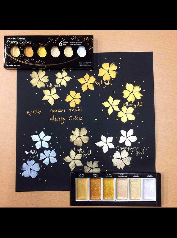 Kuretake Gansai Tambi - Set 6 Acuarelas Starry Colors