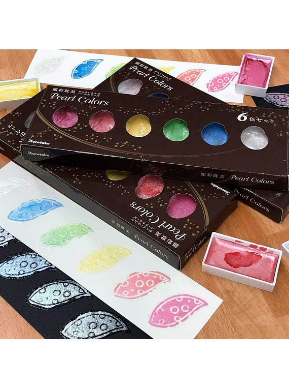 Kuretake Gansai Tambi - Set 6 Acuarelas Pearl Colors