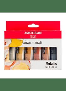 Amsterdam Standard Series - Set 6 Acrílicos 20 ml Colores Metálicos
