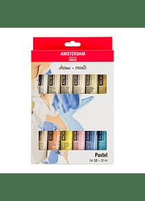 Amsterdam Standard Series - Set 12 Acrílicos 20 ml Pasteles