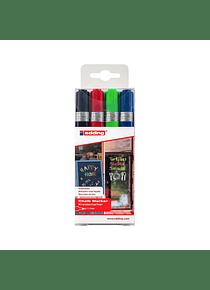 Edding 4095 - Set 4 Marcadores de Tiza Liquida (2-3 mm) Colores Surtidos