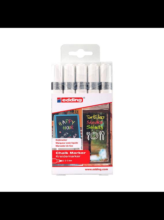 Edding 4095 - Pack 5 Marcadores de Tiza Liquida (2-3 mm) Blanco