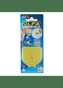 Olfa - Pack 10 Cuchillo Circular de Repuesto RB45