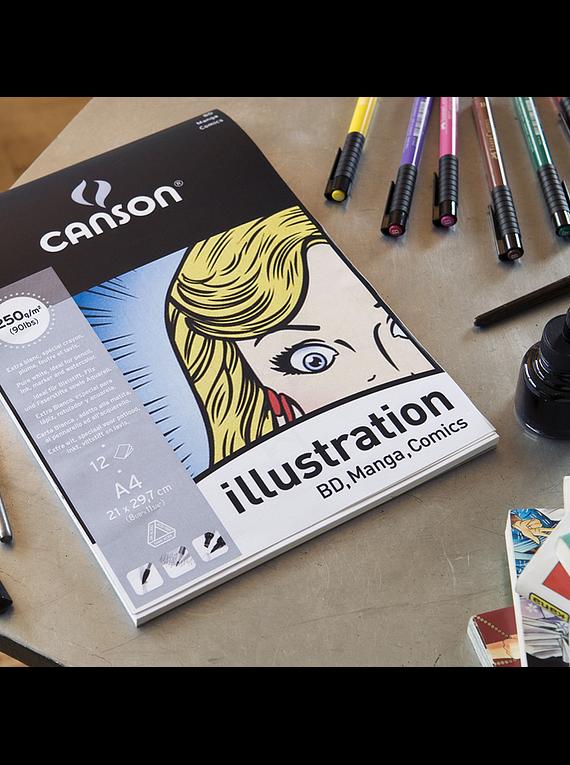 Canson Illustration - Pad Manga y Comics, A4 21 x 29,7 cm, 12 Hojas, 250 gr/m2