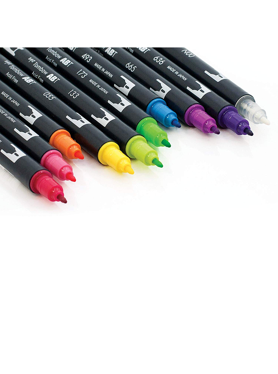 Tombow Dual Brush - Set 10 Marcadores; Colores Vivos