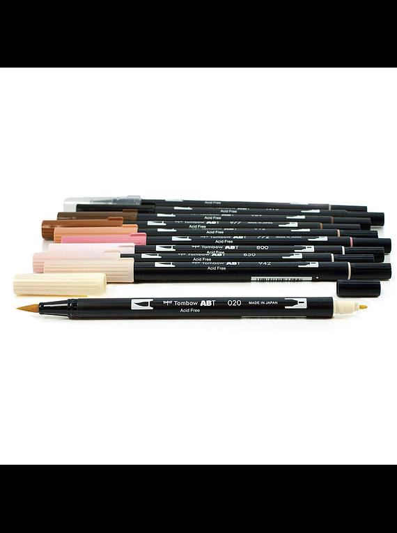 Tombow Dual Brush - Set 10 Marcadores; Colores Piel