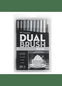 Tombow Dual Brush - Set 10 Marcadores; Escala de Grises