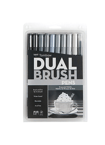 Tombow Dual Brush - Set 10 Marcadores; Escala de Grises