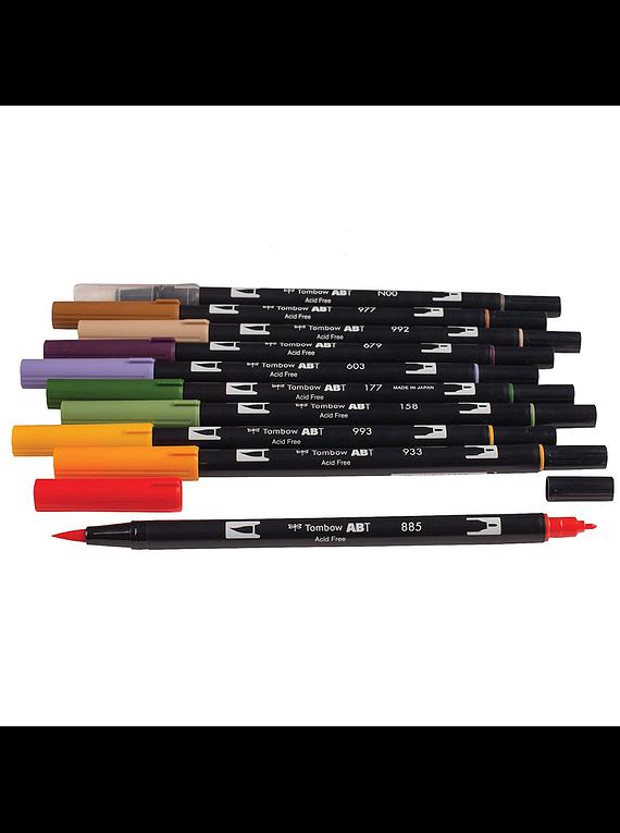Tombow Dual Brush - Set 10 Marcadores; Colores Secundarios