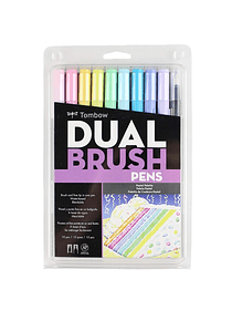 Tombow Dual Brush - Set 10 Marcadores; Colores Pastel