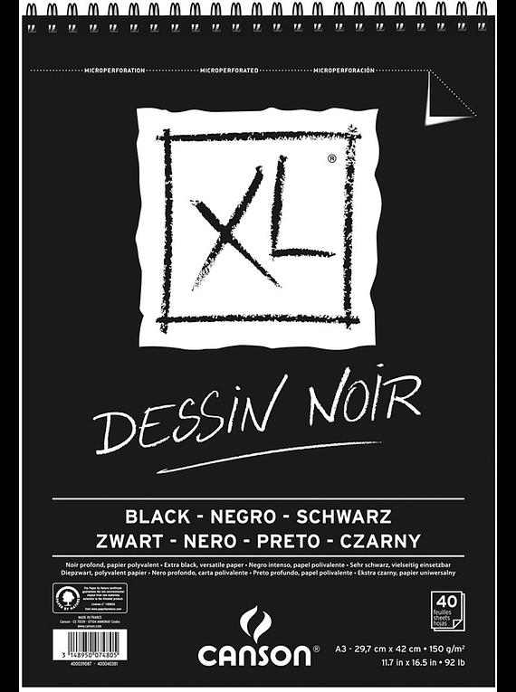 Canson XL - Croquera Dessin Noir, A3 29,7 x 42 cm, 40 Hojas, 150 gr/m2