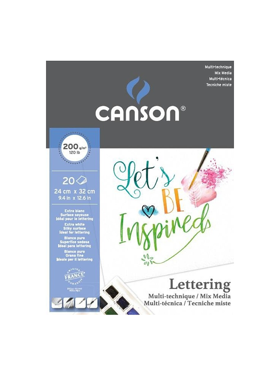 Canson - Pad Lettering, 20 x 32 cm, 20 Hojas, 200 gr/m2