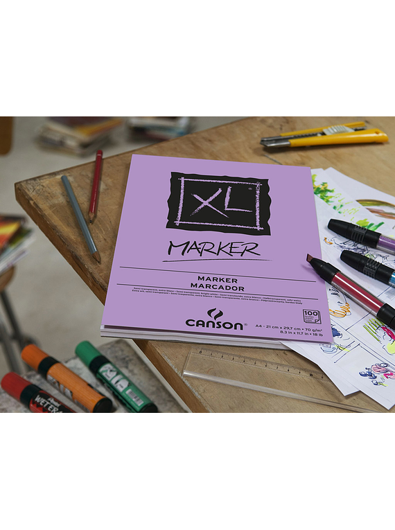 Canson XL - Pad Marker, A4 21 x 29,7cm, 100 Hojas, 70 gr/m2