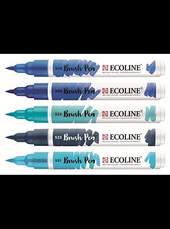 Royal Talens Ecoline - Set 5 Marcadores Brush Pen; Azules