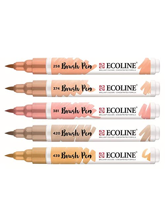 Royal Talens Ecoline - Set 5 Marcadores Brush Pen; Beige Rosa