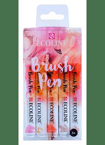 Royal Talens Ecoline - Set 5 Marcadores Brush Pen; Beige Rosa