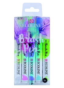 Royal Talens Ecoline - Set 5 Marcadores Brush Pen; Pastel