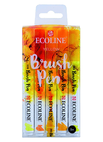 Royal Talens Ecoline - Set 5 Marcadores Brush Pen; Amarillos