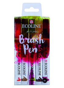 Royal Talens Ecoline - Set 5 Marcadores Brush Pen; Otoño