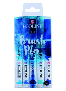 Royal Talens Ecoline - Set 5 Marcadores Brush Pen; Azules