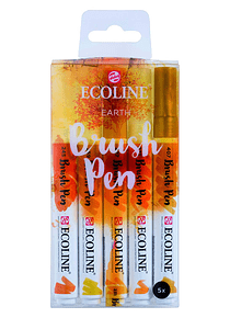 Royal Talens Ecoline - Set 5 Marcadores Brush Pen; Tierra