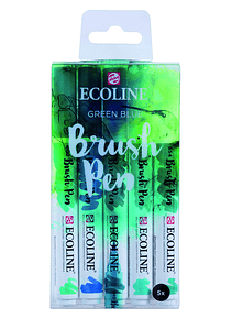 Royal Talens Ecoline - Set 5 Marcadores Brush Pen; Verde Azul