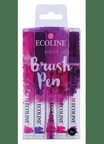 Royal Talens Ecoline - Set 5 Marcadores Brush Pen; Violeta