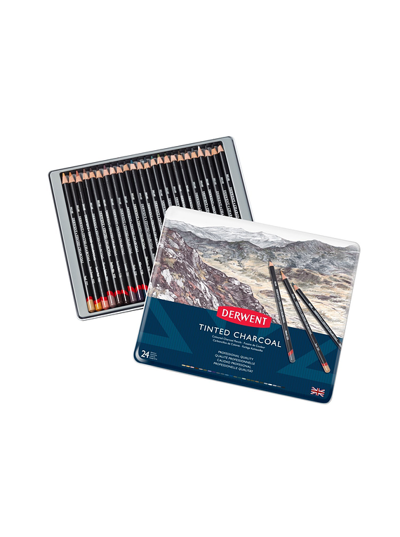 Derwent Tinted Charcoal - Set 24 Lápices Carboncillo Entintado