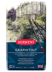 Derwent Graphitint - Set 12 Lápices Grafito Entintados; Solubles en Agua