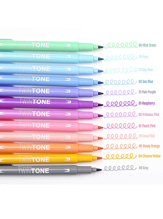 Tombow TwinTone - Set 12 Marcadores; Pastels