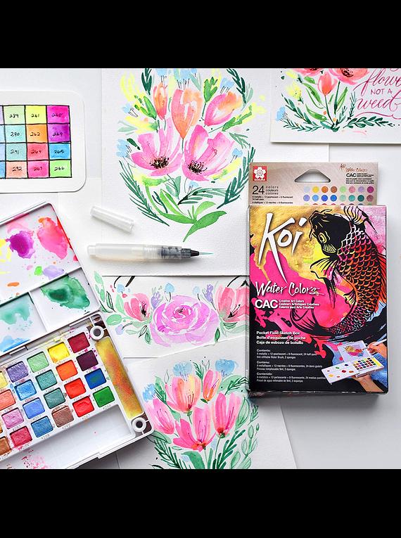 Sakura Koi - Set 24 Acuarelas Water Colors; Colores Creativos, Con Water Brush