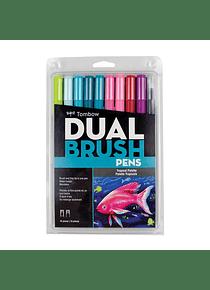 Tombow Dual Brush - Set 10 Marcadores; Paleta Tropical
