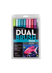 Tombow Dual Brush - Set 10 Marcadores; Paleta Tropical