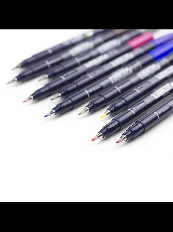 Tombow Fudenosuke - Set 10 Marcadores; Colors