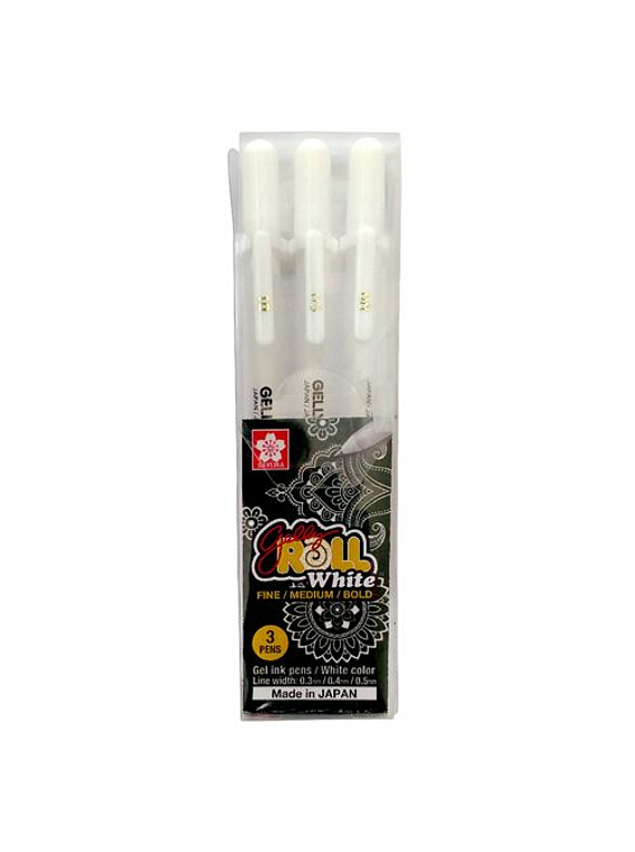 Sakura Gelly Roll - Set 3 Lápices Tinta Gel; Blancos