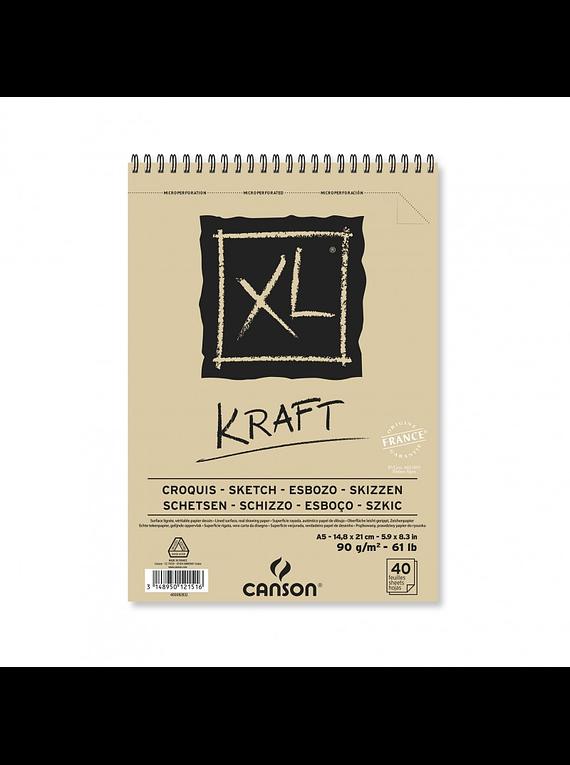 Canson XL - Croquera Kraft; A5 14,8 x 21 cm, 40 Hojas, 90 gr/m2