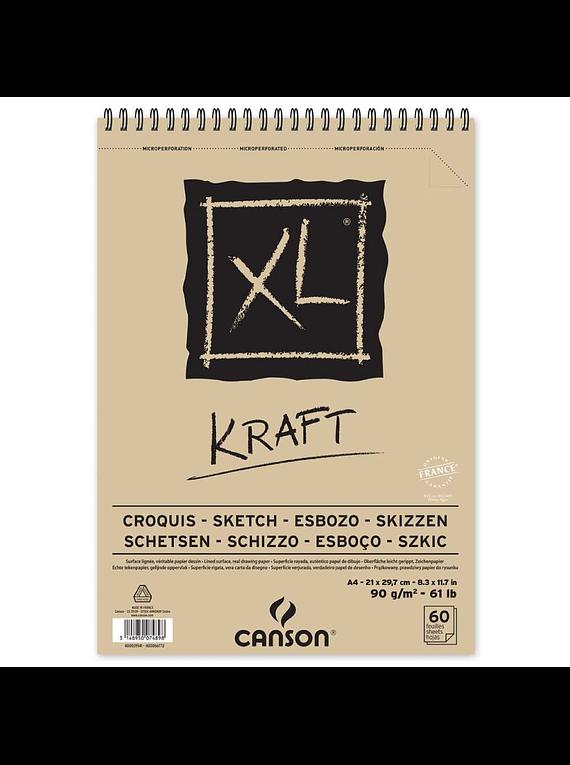 Canson XL - Croquera Kraft; A4 21 x 29,7 cm, 60 Hojas, 90 gr/m2