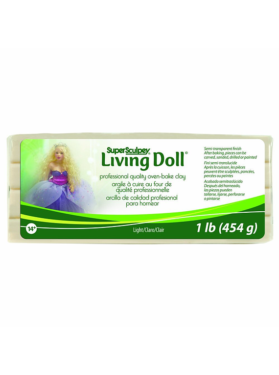 Super Sculpey Living Doll - Arcilla Polimérica Light (Claro); 1 lb (454 g)