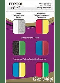 Sculpey Premo! - Arcilla Polimérica Multipack; 12 Colores Accents, 340g (12 x 28g)