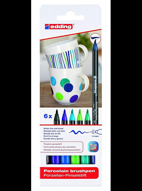 Edding Porcelain Brush Pen - Set 6 Marcadores Colores Fríos para Porcelana