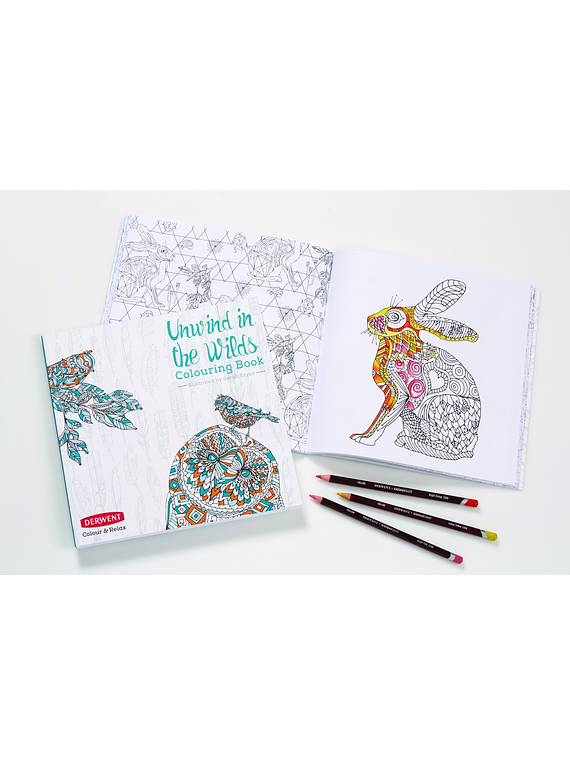 Derwent Unwind in the Wilds - Libro para Colorear; Incluye 10 Lápices Coloursoft