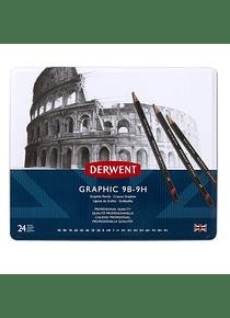 Derwent Graphic - Set 24 Lápices Grafito de 9B a 9H